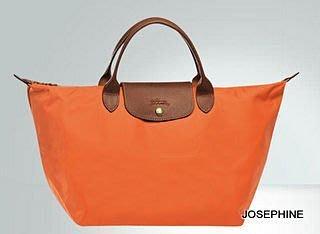 喬瑟芬【LONGCHAMP】出清~2014春夏橙色017折疊系列 中型 *1623089 短柄 手提包