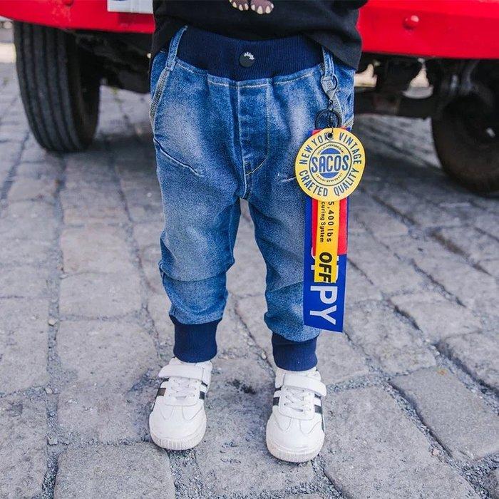 韓範~外貿2018新款男童韓範十足掛飾束腳牛仔褲@KK.KIDS