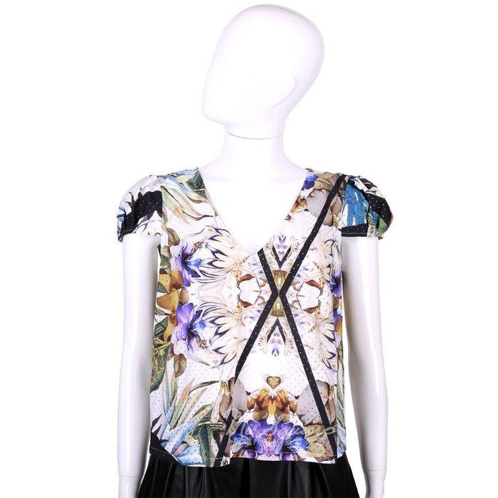 米蘭廣場 CLASS roberto cavalli 白色幾何印花洞洞短袖上衣 1520571-20