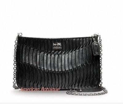 【美國精品館】COACH 48498 Madison Gathered Leather Zip Crossbody (黑) 真皮皺褶金屬鍊斜背包