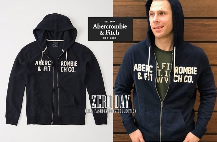 零時差美國時尚網A&F真品Abercrombie&Fitch Logo Zip-Up Hoodie美式貼布連帽外套深藍