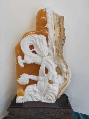 金凍石龍巧色完整霸氣擺件 優質石 正宗印尼金田黃  篆刻印章