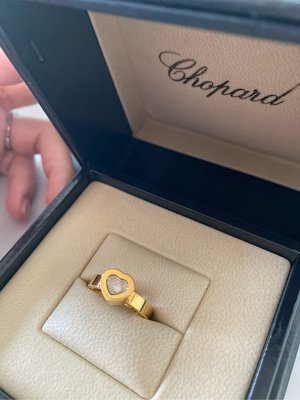 Chopard 蕭邦 Happy Diamond 黃k金跑鑽愛心戒指