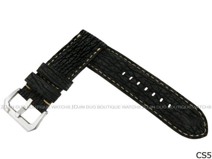 金鐸精品~CS5 沛納海 PANERAI 黑色鯊魚皮手工皮錶帶