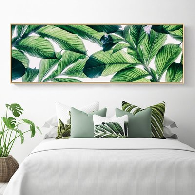綠語風格綠植臥室床頭裝飾畫主臥背景墻掛...