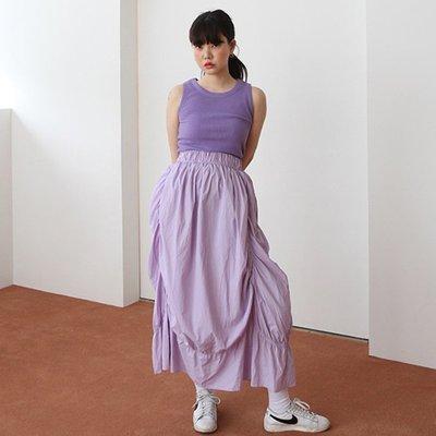 IM 韓製訂單 獨角獸ins極簡主義設計感上下兩穿抹胸泡泡摺皺長裙 淺紫/純白/黑色