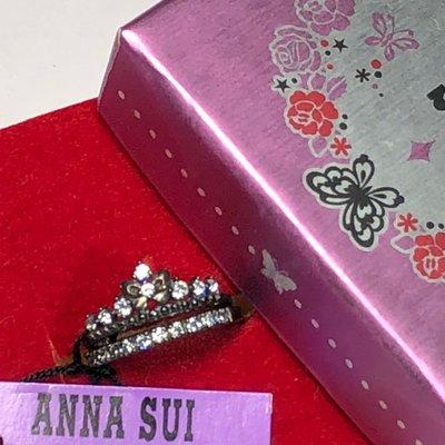 Anna Sui全新限量正品白色水鑽蝴蝶皇冠/白色水鑽半環戒925純銀雙尾戒雙戒指戒指組安娜蘇