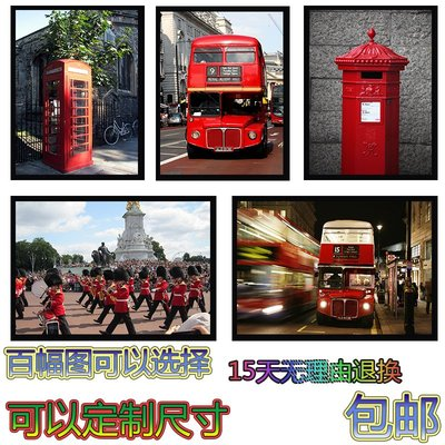 掛畫 居家生活建筑現代簡約客廳裝飾畫餐廳臥室掛畫英國紅色公交車咖啡館裝飾畫台北百貨