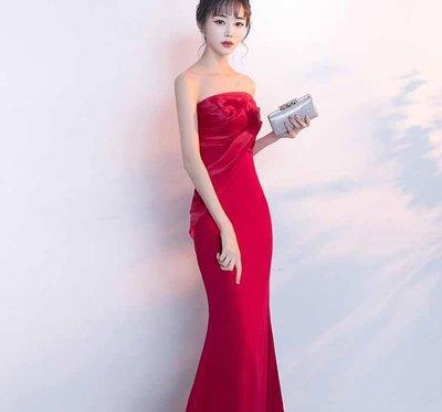 哆啦本鋪  魚尾敬酒服 新款時尚結婚禮服抹胸宴會主持人修身長款晚禮服女D655