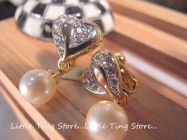 德國進口古董珠寶珠光小珍珠黃金K色愛心墜飾8mm貝殼珍珠夾式栓式耳環 垂吊式耳夾耳環