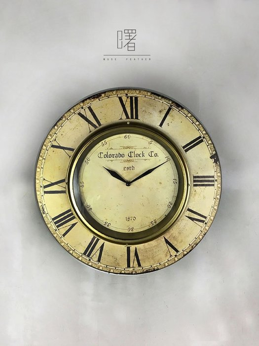 【曙muse】北歐簡約復古仿舊掛鐘  時鐘 (米色) 裝飾 掛飾 loft 工業風 咖啡廳 民宿 餐廳 住家