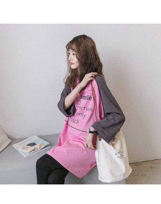 【愛媽媽孕婦裝】100%韓國直送迎接初春浪漫美式棒球風風格•配色孕婦長洋裝․孕婦連身裙
