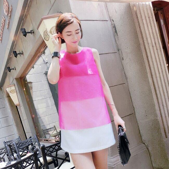 *^_^*~小蜜蜂精品~*^_^* 韓版歐根紗漸層色系無袖背心寬鬆中長款洋裝連身裙
