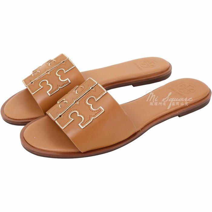 米蘭廣場 TORY BURCH Ines 雙T金屬色鑲邊牛皮平底拖鞋/涼鞋(棕褐色) 1920733-B3