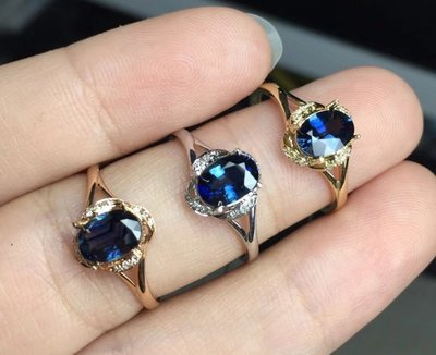 18K金藍寶石戒指 18K真金配鑽石鑲...