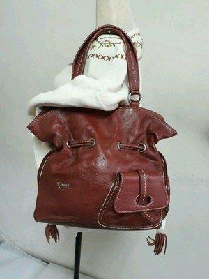 紫庭雜貨*全新 牛皮包 黛安娜 Diana 紅棕色 手提包 肩背包 *手提袋 平板包 水桶包 變大變小 展示包 出清優惠