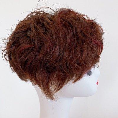 整頂假髮真髮絲短假髮-手織自然挑染捲髮女假髮2色73vr9[獨家進口][米蘭精品]