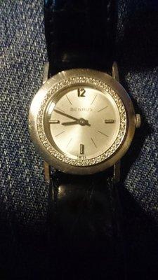 BENRUS 賓如士 稀有限定{正白k金}實14k 鑲鑽 手上鍊 古董珍藏錶 品相極美