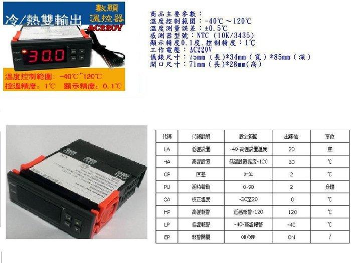 AC220V~ 數顯溫度控制器 冷熱雙輸出