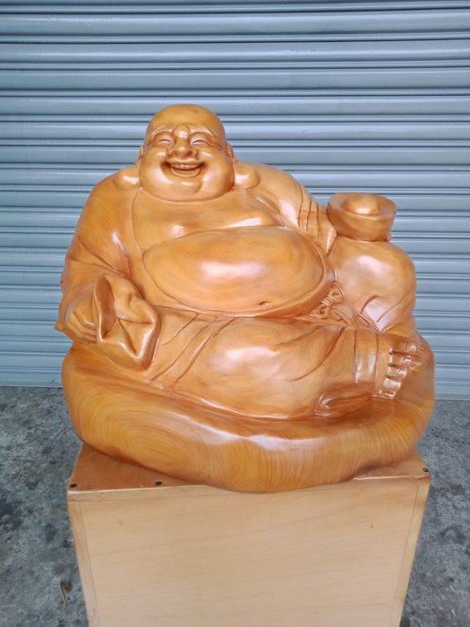 坐姿彌勒佛財神爺 台灣黃檜木雕刻 作者:柯金仲
