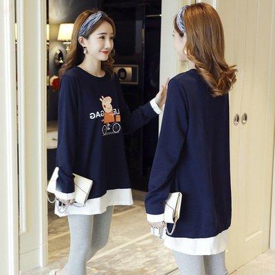 南國女人街WM孕婦裝春裝套裝2019新款早春外出時尚印花假兩件打底衫兩件套裝潮