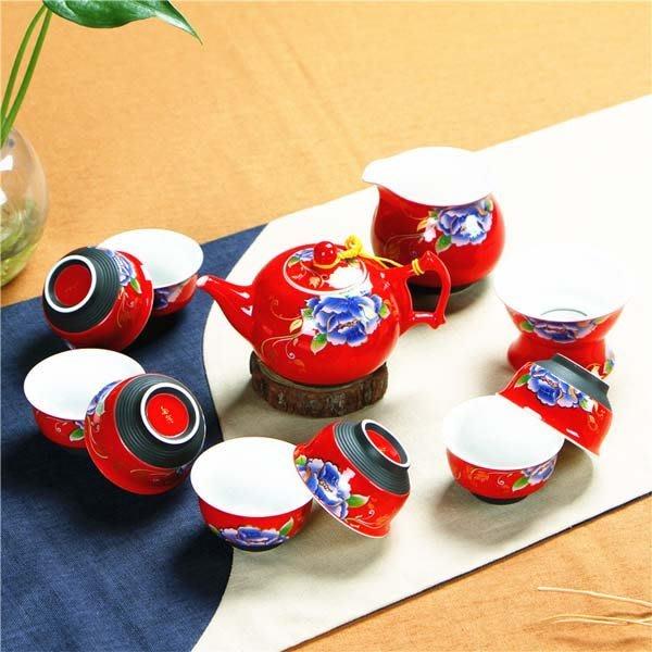 5Cgo【茗道】含稅會員有優惠 520411725732 螺紋紅牡丹紅色瓷器結婚茶具套裝婚慶用功夫茶具茶壺敬茶杯高檔禮品