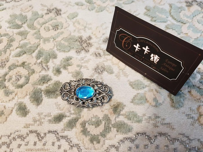【卡卡頌 歐洲跳蚤市場/歐洲古董】歐洲老件 法國 藍鑽 鏤雕 古董胸針 別針ss0444✬