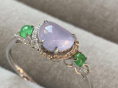 愛買出清~緬甸A貨天然翡翠~18K金750鑽石鑲嵌~小清新~紫羅蘭翡翠鑽石戒指~一元起標無底價