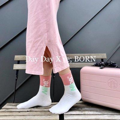 韓國進口東大門RE BORN拼色字母中筒女襪