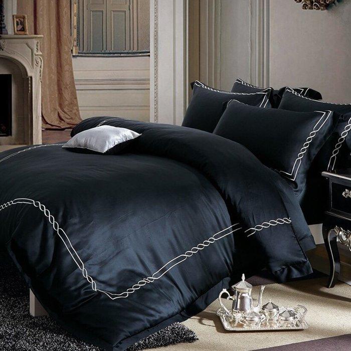 TENCEL60支刺繡素色100%天絲萊賽爾.賽洛華庭(黑).特大床包鋪棉被套四件式/加高35cm【芃云生活館】