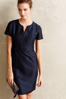 轉賣全新Anthropologie 深藍色貴婦質感菱格鉛筆裙洋裝 Diamond-Dot Pencil Dress 6號