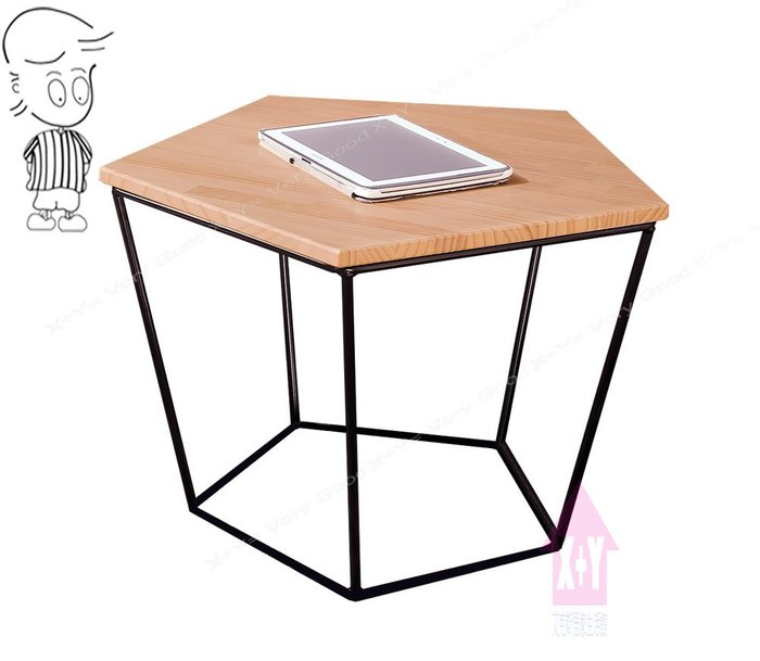 【X+Y時尚精品傢俱】現代客廳系列-菲比 本色五角茶几.桌面紐西蘭松木+黑色烤漆腳架.摩登家具