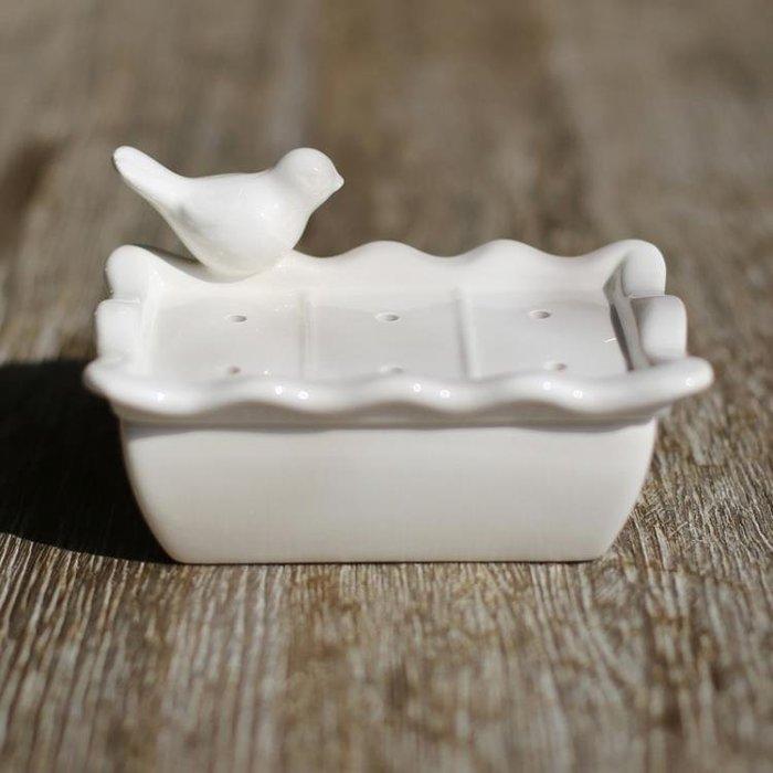 陶瓷肥皂盒歐美式家居浴室用品雙層格皂盒瀝水帶蓋