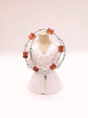 天然草莓晶 垂飾流蘇銀飾手鏈 開運招褔招財創意時尚百搭