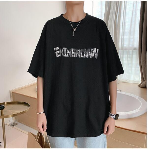 FINDSENSE X 男款 時尚 寬鬆舒適 男裝寬  字母中性休閑 情侶大碼 印刷 短袖T恤男