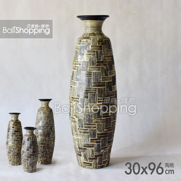 【Bali Shopping巴里島購物】峇里島手工貼葉陶瓶(B款)30x96cm亞洲風花器花瓶熱帶島嶼風聚寶瓶