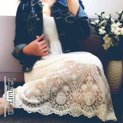 日系優雅蕾絲 絲滑感小高腰娃娃款吊帶裙...