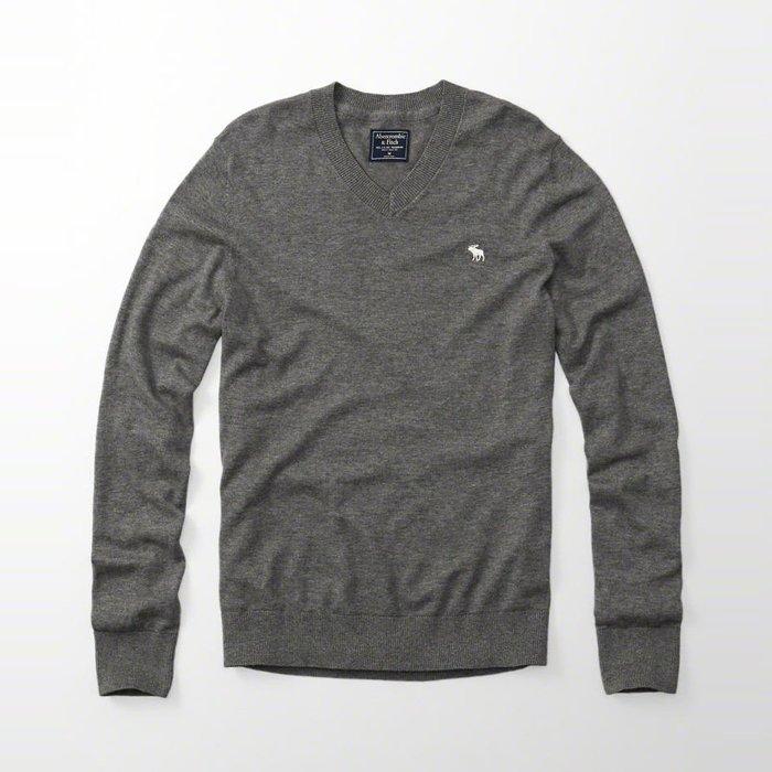 美國百分百【Abercrombie & Fitch】針織衫 AF 毛衣 麋鹿 V領 羊毛 灰色 S-XXL號 H401
