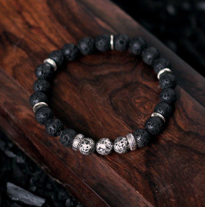 黑岩 燧生. 天然礦石純銀手珠 黑火山石原始能量 實心純銀火山石