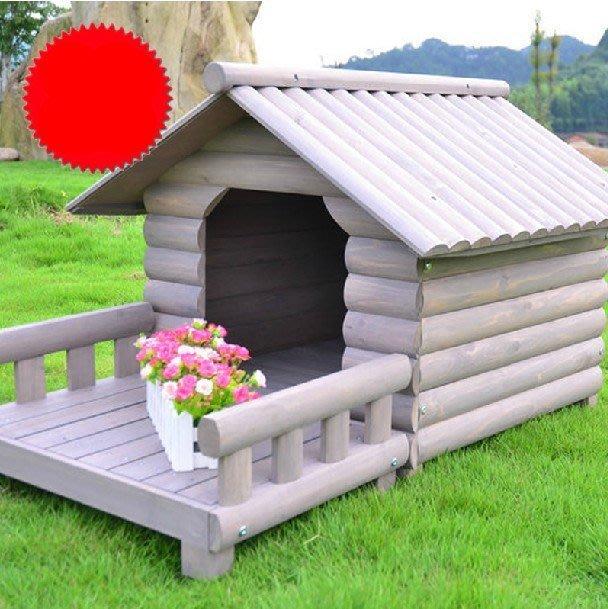防腐圓木狗窩貓窩狗屋戶外室內中小型犬寵物房帶陽臺