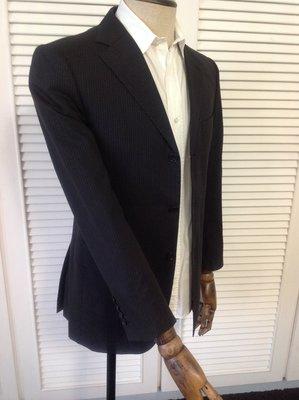 日本限定 BURBERRY BLACK LABEL SUPER 100's 黑色極細藍橘條紋單排三釦西裝