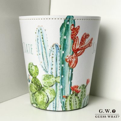 GW【 仙人掌收納筒 】皮質 壓紋 手繪印花 垃圾桶 置物盒 文青風 多肉 植物GUESSWHAT