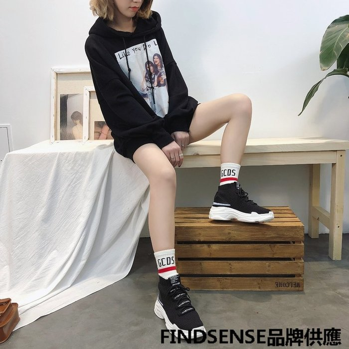 FINDSENSE品牌 四季款 新款 日本 女 高品質 個性 厚底增高 舒適 鯊魚襪子鞋 時尚運動 休閒鞋  潮流鞋子