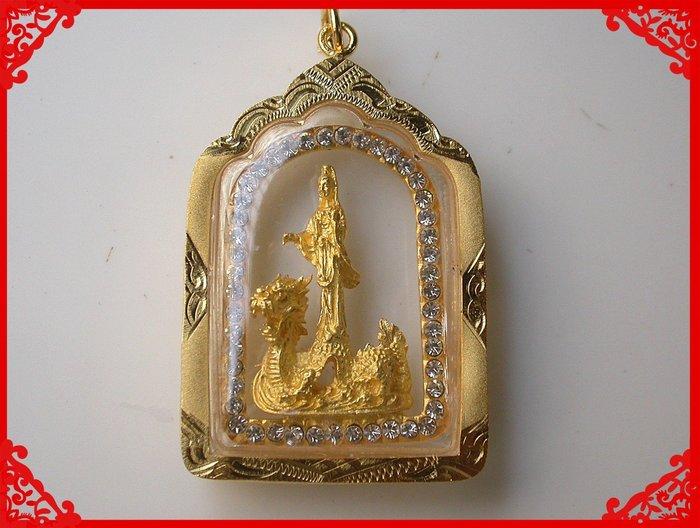 【雅之賞|藏傳|佛教文物】*特賣* 泰國佛牌真品 鑲鑽 觀音佛牌~Q618