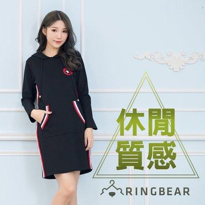 長袖洋裝--美式率性抽繩連帽顯瘦線條星星印圖雙口袋連身裙(黑XL-4L)-A320眼圈熊中大尺碼
