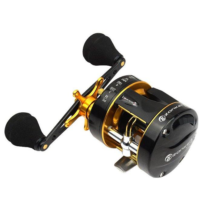 尚澤鼓輪雷強輪全金屬鼓輪路亞輪打黑輪船釣輪8軸8點雙剎車