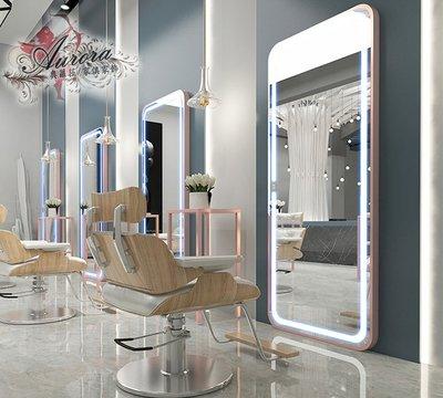 美髮店  理髮鏡 理髮店 美髮鏡  美容鏡 方鏡上燈風格 現代摩登鋼鏡台 美容美髮鏡台