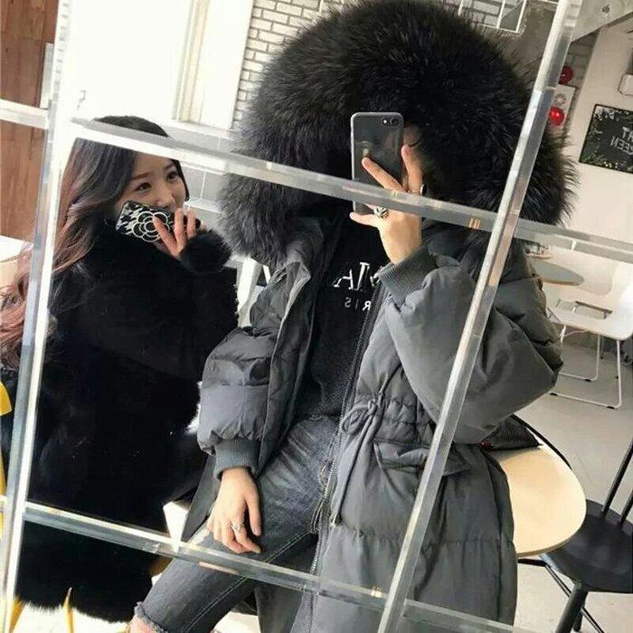 【💯超大真毛領實拍🔥】韓 東大門 收腰羽絨外套 大毛領 防風 防水外套 中長版外套 連帽外套【兩色S~XL】