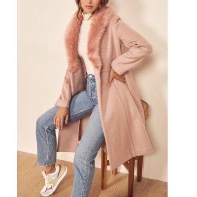 全新真品Reformation 粉色 皮草羊毛 保暖大衣 外套