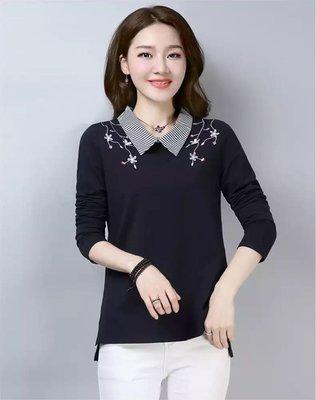 95%棉女长袖秋装假两件打底衬衣宽松显瘦绣花衬衫领上衣